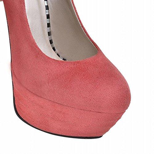 Mee Shoes Damen modern reizvoll Nubukleder Stiletto Geschlossen runder toe Plateau Pumps Pink