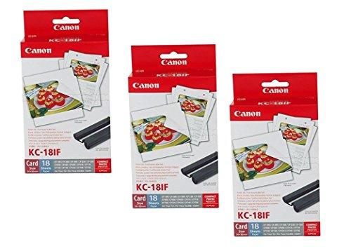3x Original Canon Multipack KC-18IF KC18IF für Canon Selphy CP 1000 - 54x86mm, 18 Blatt, 1x Kartusche Farbig -