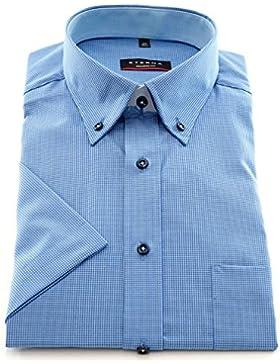 ETERNA Herren Kurzarm Hemd Modern Fit Button-Down-Kragen blau / weiß kariert mit Patch 8301.11.C144