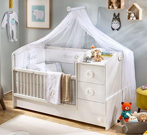 *Cilek BABY COTTON Babybett L mit Zubehör mitwachsend Kinderbett Bett Weiß*