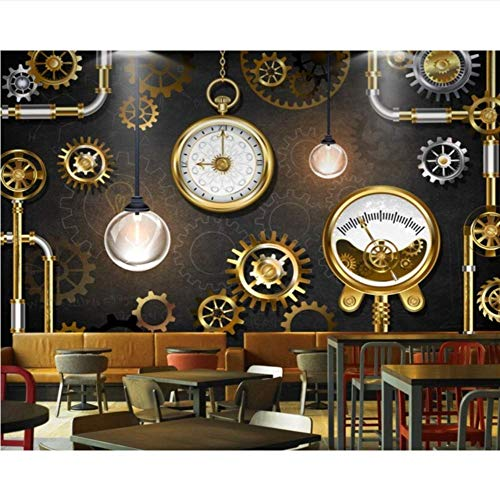 Pbldb Benutzerdefinierte 3D-Fototapete Hotel Lobby Wandbild Restaurant Tapete Stereo Golden Gear Uhr Tafel Wandbild-200X140Cm 5300 Stereo