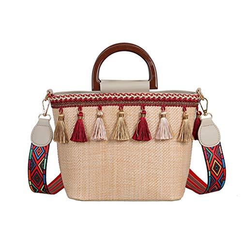 Morran Damen Messenger Bag Henkeltaschen Vintage Quaste Strand Stroh Tasche Ethnic Style Ribbon Strandtasche -