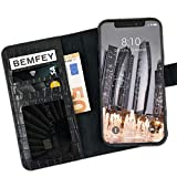 BEMFEY® iPhone X | XS Case Monaco in Elegantem Premium Leder 2 in 1 Lösung mit magnetischer und Herausnehmbarer Handyhülle aus dem Lederetui Made in Europe (Schwarz Kroko)