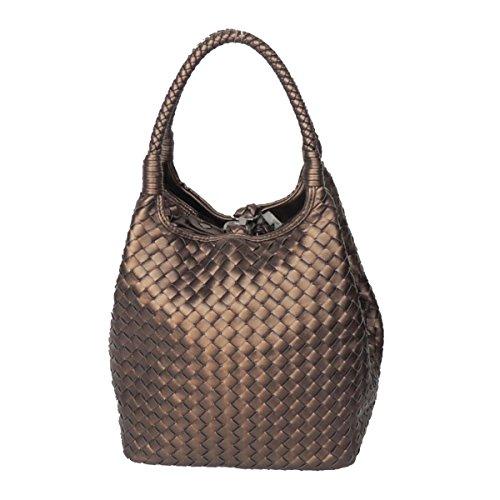 CHENGXIAOXUAN Hand-Woven-Taschen Vertikalschnitt Glamour Handtasche Wannenbeutel Multicolor Damen Mode Handtaschen Kleine Luxus Atmosphäre Handtasche,Bronze-OneSize - Hand-woven-diamond