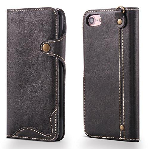 Coque iPhone 8, iPhone 7 cas, AOMO véritable matériel en cuir avec des boutons [porte-cartes] [Vintage Classic Series] [tout autour de la protection] Retro housse de protection en cuir Étui de téléphone pour iPhone 7 2016/iPhone 8 2017 (4,7 pouces), coques iphone