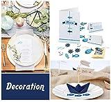 Absofine 162 Stück Holz Deko Fische Fische streudeko Fisch Tischdeko Deko für Taufe Kommunion Konfirmation Weiß & Dunkelblau & Himmelblau - 5