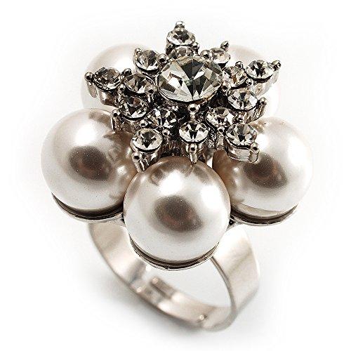 Neve finta perla, anello a forma di fiore con strass, tonalità (Wedding Pearl Tema)