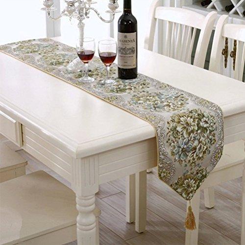 BlueTop Classic Luxus Stickerei im europäischen Stil Quaste Esstisch Manuelle Tisch Läufer Pailletten-Spitze Hotel Bett Kaffee Tisch Läufer, 100% Polyester, 98