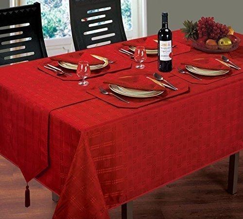 (Luxuriöse moderne Weihnachten gewebtem Karo Jacquard rot Tischdecke 132,1x 177,8cm)