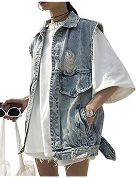 Mujer Chaleco de Vaquera Sin Mangas Denim Lavado Camiseta