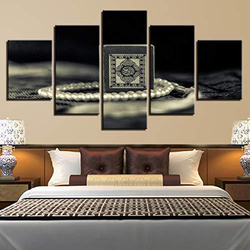 Ysain Leinwand Bild Leinwand Hd Print Malerei Für Wohnzimmer Dekor 5 Stücke Religion Heiligen Koran Bilder Wandkunst Muslim Koran Poster Modulare Rahmen-20Cmx35/45/55Cm-Mit Rahmen