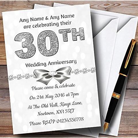 White Bokeh y plateado mira 30Th personalizable aniversario fiesta invitat..., 40 Invites & Envelopes