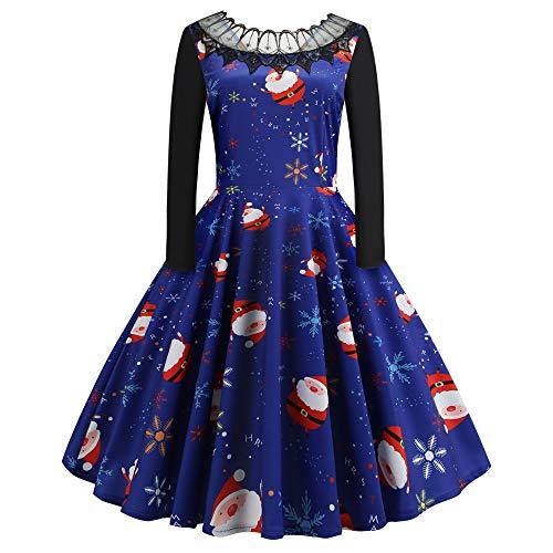 SEWORLD Weihnachten Damen Elegant Abendkleid Vintage Weihnachten Party Kleid Mesh Brautkleid Retro...