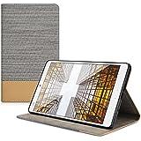 kwmobile Elegante funda de lona cuero sintético para Huawei MediaPad M3 8.4 en gris claro marrón con una práctica FUNCIÓN DE SOPORTE
