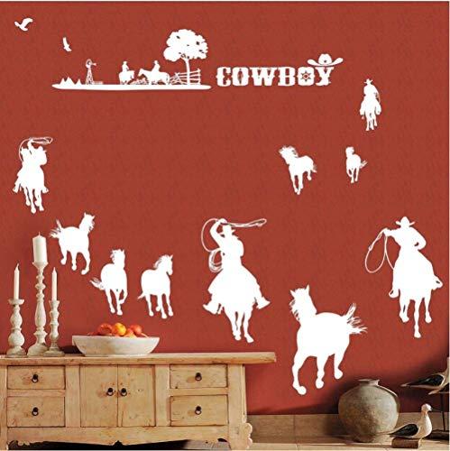 limicry Cowboys Wandtattoo Abnehmbare Vinyl Wandaufkleber Cowboys Set Wandbild Western Cowboys Style Tapete @ White_150 * 120Cm
