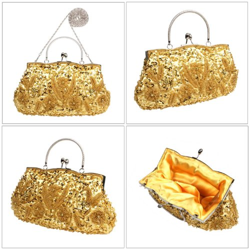 BCM - Borsetta clutch da sera chiusura rigida decorata con paillettes interno in satin Oro