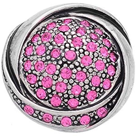 ZALAGO 1 Botón Rosa Presión DIY Snap Remache con Diamante Imitacíon 21mm Dia