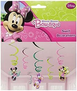 6 serpentins de décoration Disney Minnie Mouse roses