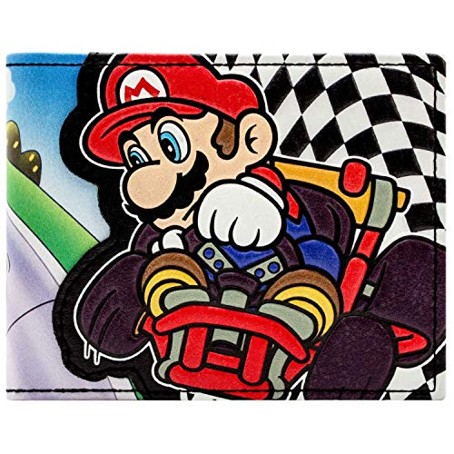 Super Mario Kartsport-Zielflagge Schwarz Portemonnaie Geldbörse