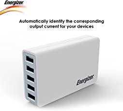 Energizer 40W/8A 5-Port USB Charger, (White)