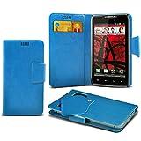 ONX3 (Baby Blue) Motorola DROID RAZR MAXX HD Super sottile Faux aspirazione del cuoio del rilievo del raccoglitore di caso della copertura della pelle con credito / debito Slot Card