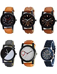 NEUTRON Latest Style Black Blue And Brown Color 6 Watch Combo (B29-B30-B31-B32-B33-B65) For Boys And Men