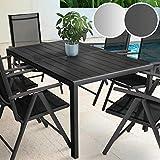 Miadomodo - Table de Jardin Terrasse en Aluminium pour 6 Personnes 150 x 90 x 72 cm...