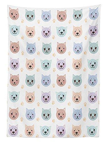 Yeuss Home Decor Tischdecke Smiley Katze Maulkorb Paw Prints Muster auf Cartoon Tiermotiv Kitty Kinderzimmer Decor, rechteckig, Tisch Esszimmer K¨¹Che, Multi 60