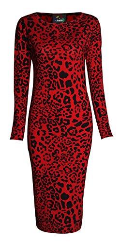 FK Styles para Mujer Manga Larga de Leopardo Tribal Calavera Viscosa Vestido de Midi Rojo Leopard Red 36
