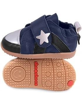 ShooShoos - Zapatitos de piel suela dura, azul y negro estrella