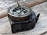 Nautical Handmade Instruments Bussola in Ottone Antico, Fatta a Mano, con Custodia in Pelle Stampata, Stile Vintage Marino, Ideale Come Regalo