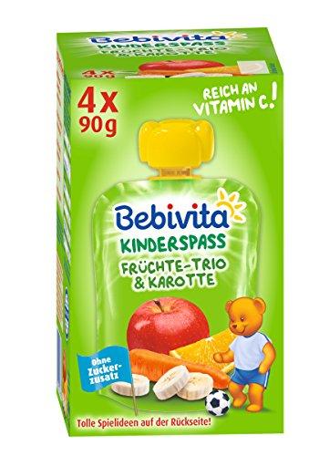 Bebivita Kinder-Spaß Früchte-Trio und Karotte, 4 x 90 g
