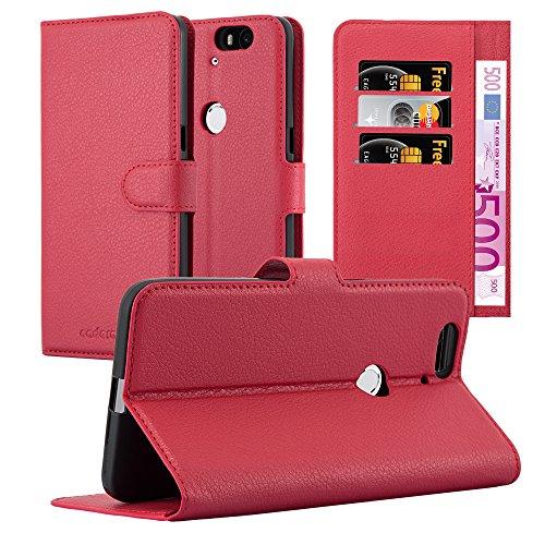 Cadorabo Hülle für Huawei Nexus 6P - Hülle in Karmin ROT – Handyhülle mit Kartenfach und Standfunktion - Case Cover Schutzhülle Etui Tasche Book Klapp Style