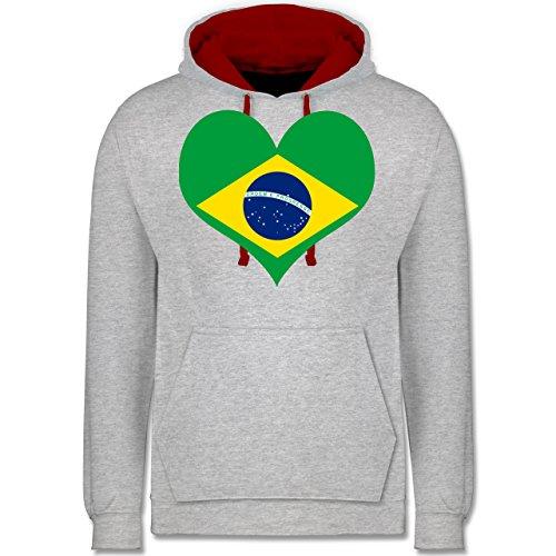 Länder - Brasilien Herz - Kontrast Hoodie Grau Meliert/Rot