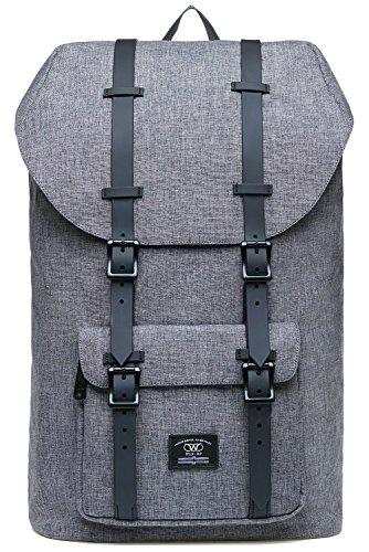 KAUKKO Laptop Rucksack für 17 Zoll Damen Herren Backpack Lässiger Schulrucksack Daypacks Stylish Rucksäcke Für Wanderreise Camping 21.57 Liters (Leinen Grau02)