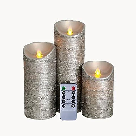 12,7cm/17,8cm/22,9cm pouce Paillettes argentées LED en cire sans flamme Bougies, Bougie à piles électrique Lot de 3