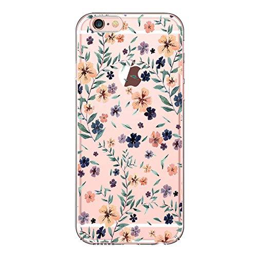 JEPER Kompatibel für iPhone 6 6S 4,7 Zoll Schutz-Hülle, Silikon TPU transparent ultra-slim Case Cover durchsichtig Kirsch-Serie(Pattern 01) Pattern Design Case