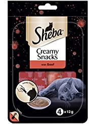 SHEBA Crème Snacks Beef Cat Treats, 4 x 12 g