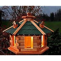 Vogelhaus Futterhaus Vogelvilla Mit Solarbeleuchtung Und Silo Klein Und  Groß Verschiedene Farben V16 (Grün,