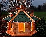Vogelhaus Futterhaus Vogelvilla mit Solarbeleuchtung und Silo klein und Groß verschiedene Farben V16 (Grün, groß), Vogelfutterhaus