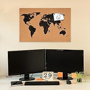 Navaris tablero de notas de corcho – tablero mapa del mundo 60×40 cm – en diseño de mapamundi – con set de montaje y 15 chinchetas