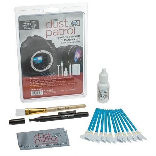 Kit 16 Pezzi: The Dust Patrol Alpha 20mm Premium Sensor-Swabs per la pulizia del CCD delle fotocamere digitali per sensori di formato Four/Thirds (4/3) (1,3x) ( 12 pezzi )( blu ) + Gamma Bottiglia da 14 ml di liquido detergente