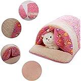 Creation® Molleton chaud Mignon Animal de compagnie Chenil Lit Avec Rideau Sac de couchage design Avec Paw Print Pour petits chiens et chats (rose)