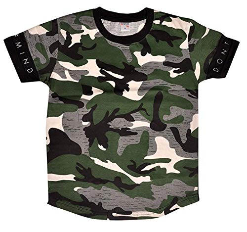Esteem Boy's Cotton Knitted Boys Army Print T-Shirt (Multicolour, 6-7 Years=Chest Round 28 Inch)