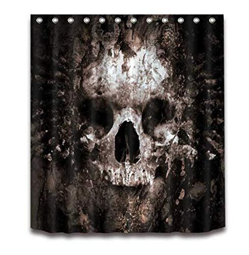 otten Skull Halloween Duschvorhang und Badematte Set wasserdichtem Polyester Bad Stoff für Badewanne Art Decor,Onlycurtain,120x175cm ()