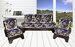Yellow Weaves 6 Piece Blue Cotton Sofa & Chair Cover Set