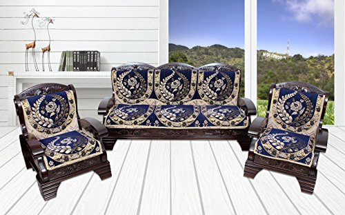 Yellow Weaves 6 Piece Blue Cotton Sofa & Chair Cover...