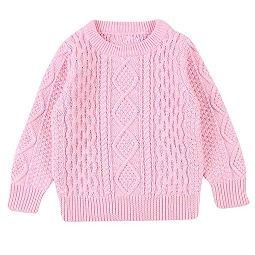 Children Baby Girl Boy Knitted Sweater Solid Sewing Cardigan Tops Outfit Clothes Solid Candy Color Autumn Winter Cotton Top Baby Pink 24M Kissy Kissy Cap