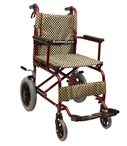 KosmoCare Stylex Ultra Lightweight Transporter Wheelchair with Seat Belt- Brown Color