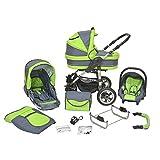 Kombi Kinderwagen Premium 3 in 1 - Kombikinderwagen Buggy graphit-saftiges grün